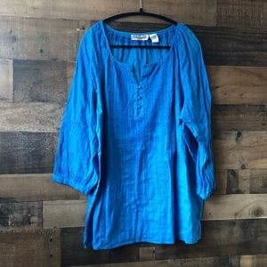New Direction Blue Embroidered Peasant Blouse